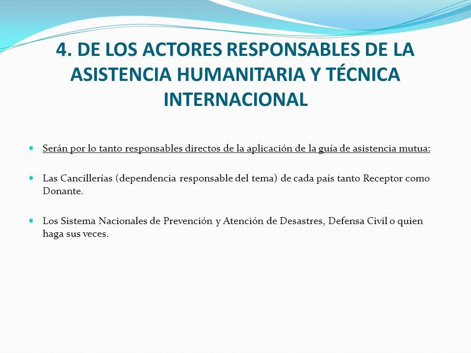 4. DE LOS ACTORES RESPONSABLES DE LA ASISTENCIA HUMANITARIA Y TÉCNICA INTERNACIONAL