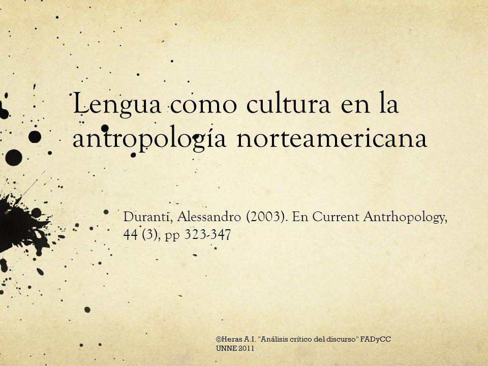 Lengua como cultura en la antropología norteamericana