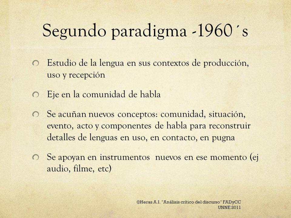 Segundo paradigma -1960´s Estudio de la lengua en sus contextos de producción, uso y recepción. Eje en la comunidad de habla.