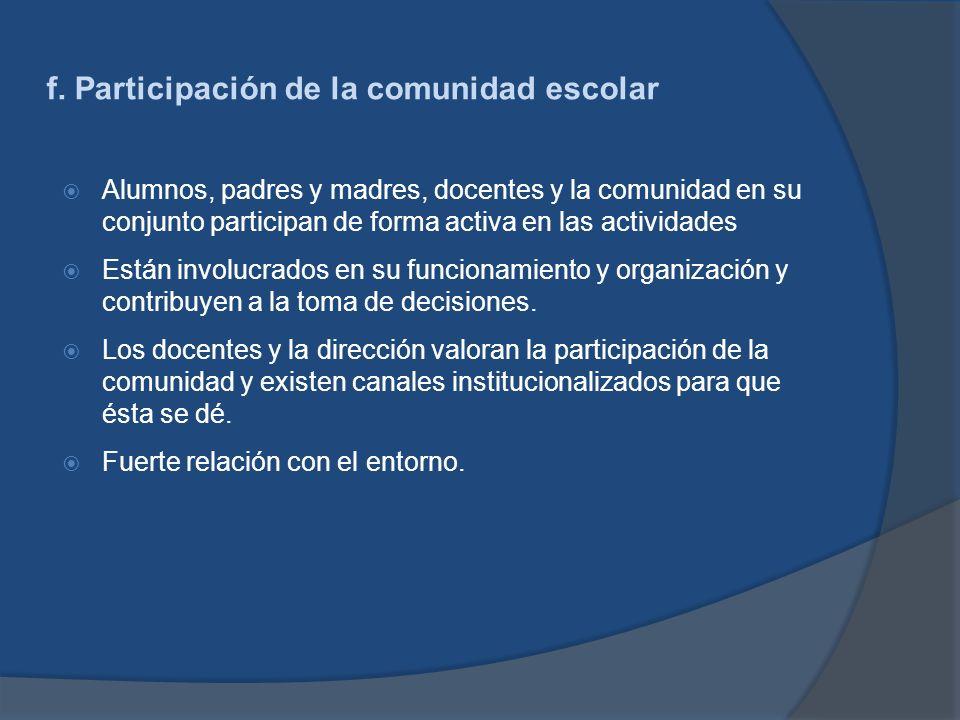 f. Participación de la comunidad escolar
