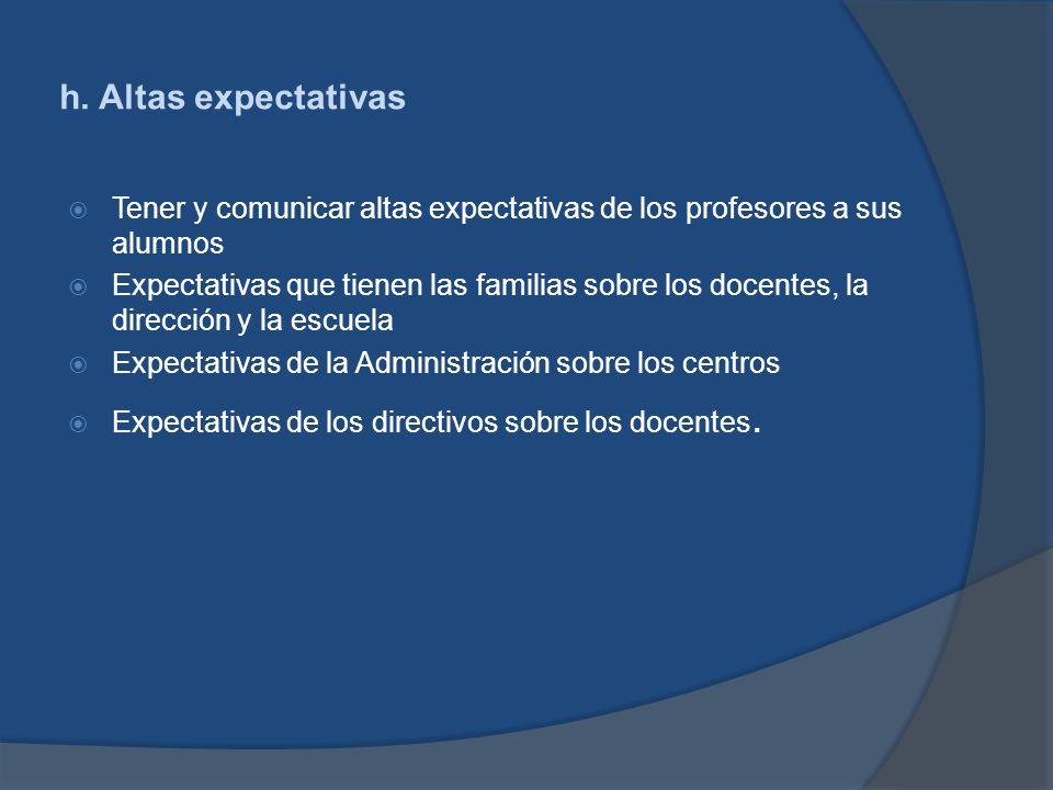 h. Altas expectativas Tener y comunicar altas expectativas de los profesores a sus alumnos.