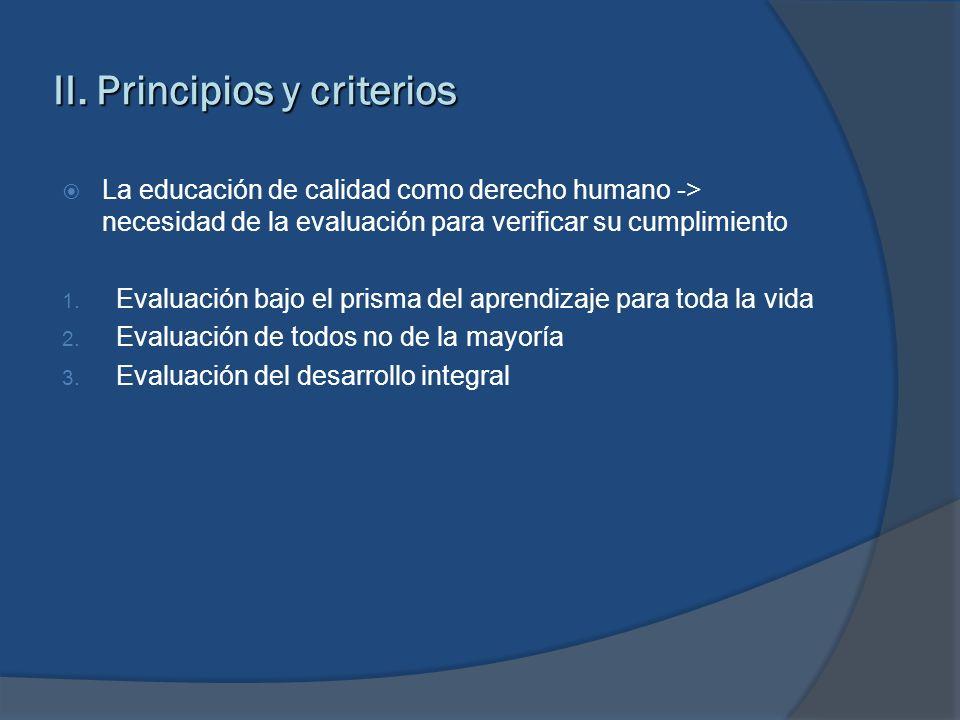 II. Principios y criterios
