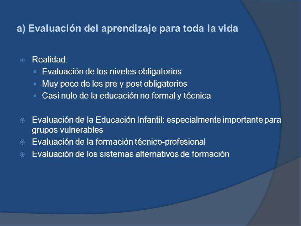 a) Evaluación del aprendizaje para toda la vida