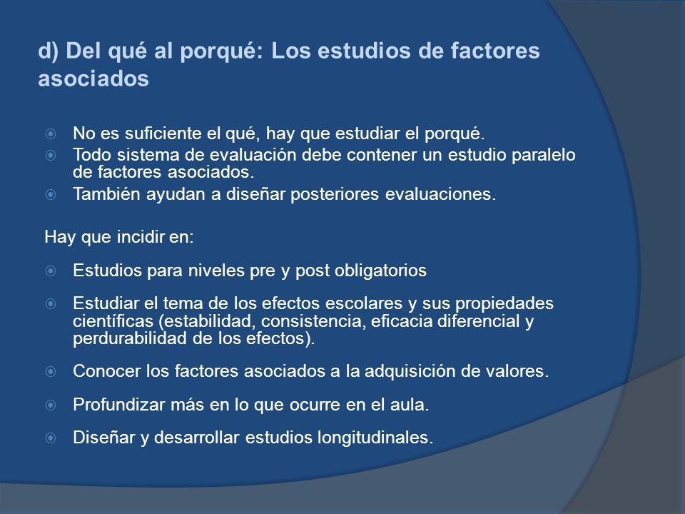 d) Del qué al porqué: Los estudios de factores asociados