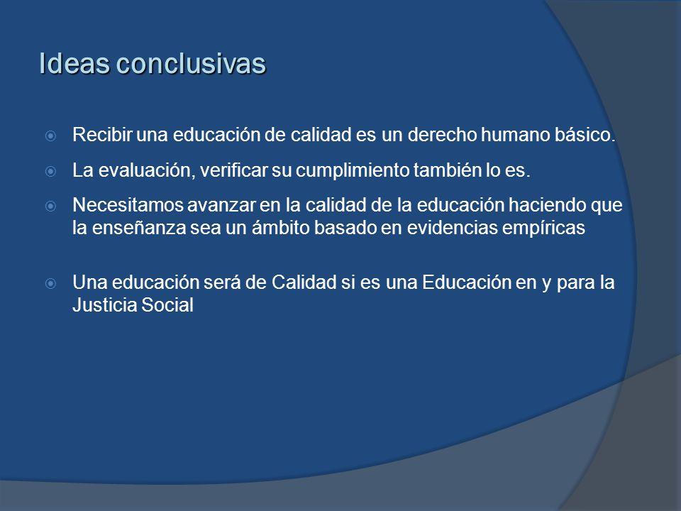 Ideas conclusivas Recibir una educación de calidad es un derecho humano básico. La evaluación, verificar su cumplimiento también lo es.