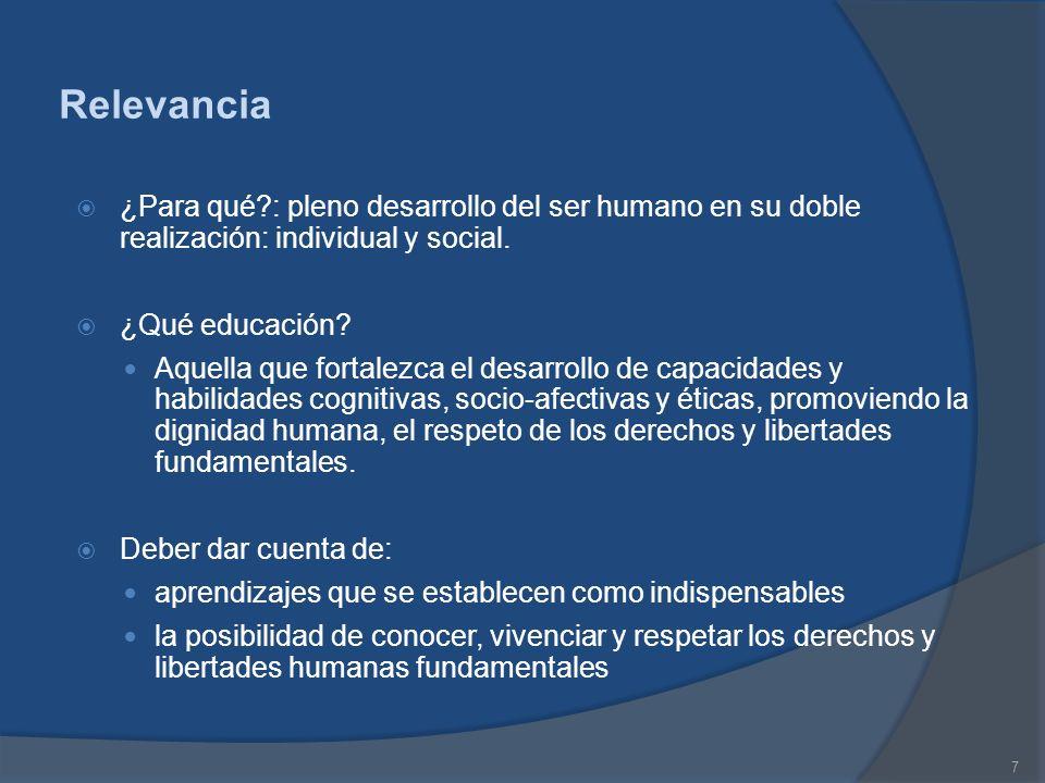 Relevancia ¿Para qué : pleno desarrollo del ser humano en su doble realización: individual y social.