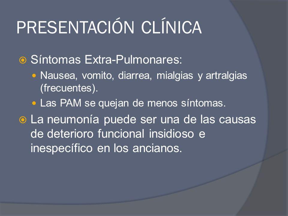 PRESENTACIÓN CLÍNICA Síntomas Extra-Pulmonares: