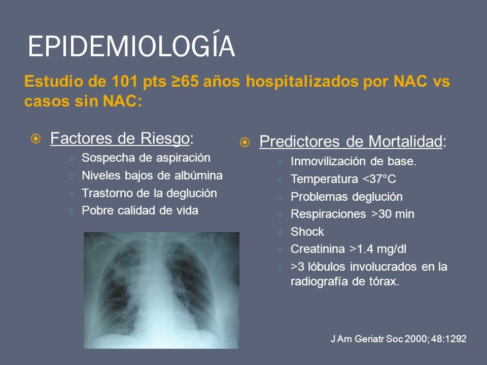 EPIDEMIOLOGÍA Estudio de 101 pts ≥65 años hospitalizados por NAC vs casos sin NAC: Factores de Riesgo: