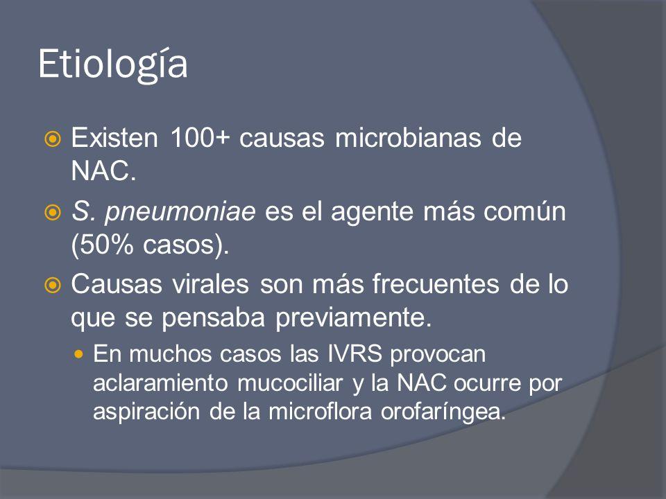 Etiología Existen 100+ causas microbianas de NAC.