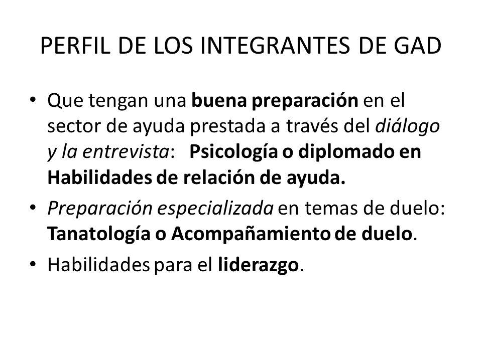PERFIL DE LOS INTEGRANTES DE GAD