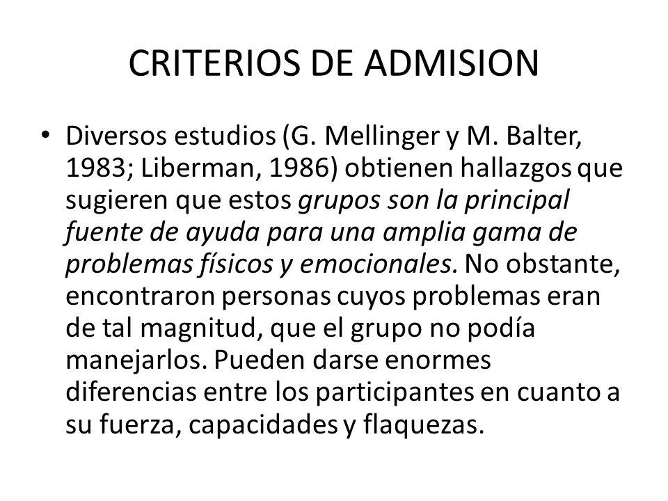 CRITERIOS DE ADMISION