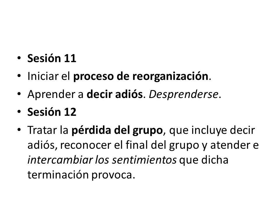 Sesión 11 Iniciar el proceso de reorganización. Aprender a decir adiós. Desprenderse. Sesión 12.