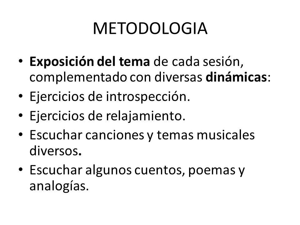 METODOLOGIA Exposición del tema de cada sesión, complementado con diversas dinámicas: Ejercicios de introspección.