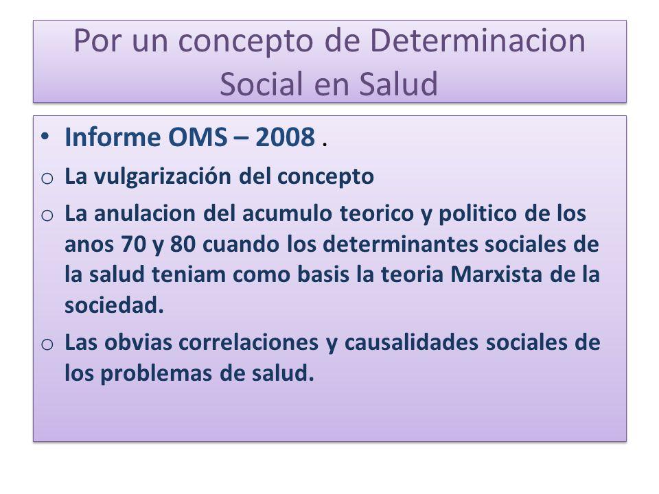 Por un concepto de Determinacion Social en Salud