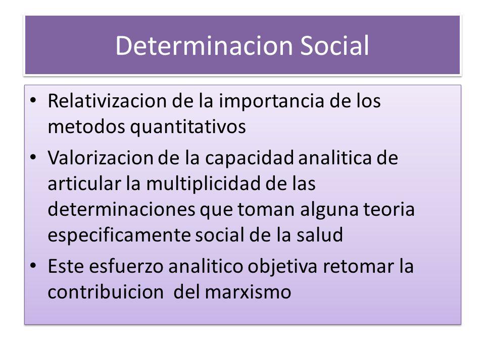 Determinacion Social Relativizacion de la importancia de los metodos quantitativos.