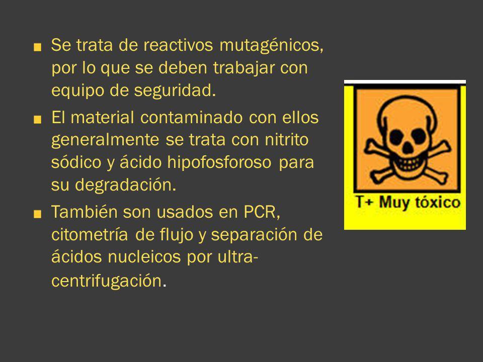 Se trata de reactivos mutagénicos, por lo que se deben trabajar con equipo de seguridad.