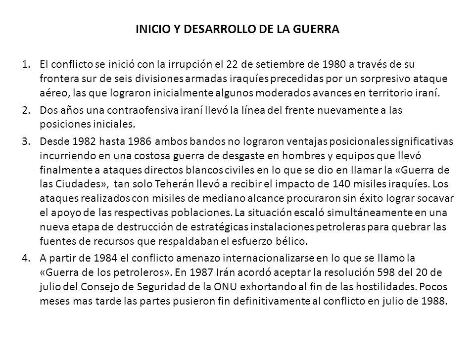 INICIO Y DESARROLLO DE LA GUERRA