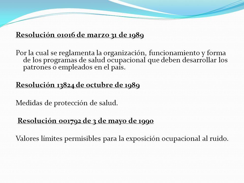 Resolución 01016 de marzo 31 de 1989 Por la cual se reglamenta la organización, funcionamiento y forma de los programas de salud ocupacional que deben desarrollar los patrones o empleados en el país.