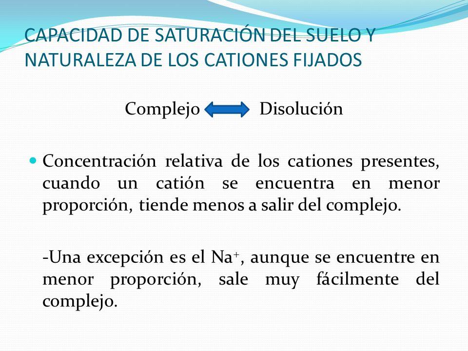 CAPACIDAD DE SATURACIÓN DEL SUELO Y NATURALEZA DE LOS CATIONES FIJADOS