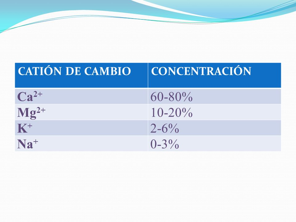 Ca2+ 60-80% Mg2+ 10-20% K+ 2-6% Na+ 0-3% CATIÓN DE CAMBIO