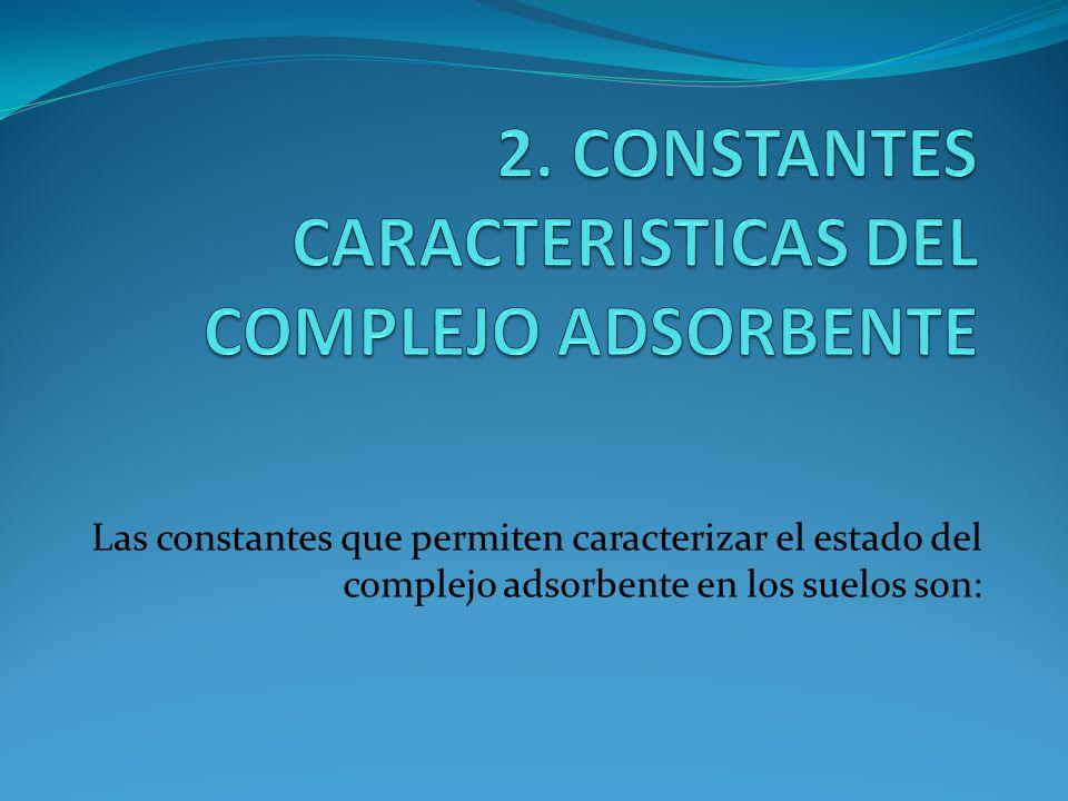 2. CONSTANTES CARACTERISTICAS DEL COMPLEJO ADSORBENTE