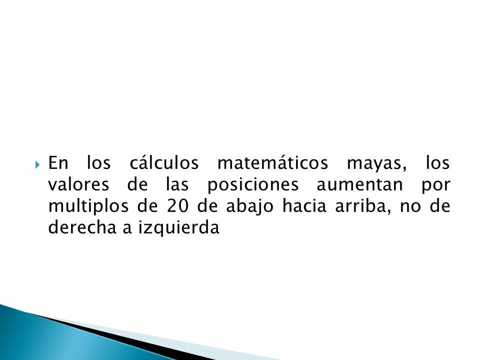 En los cálculos matemáticos mayas, los valores de las posiciones aumentan por multiplos de 20 de abajo hacia arriba, no de derecha a izquierda