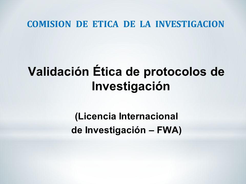 Validación Ética de protocolos de Investigación