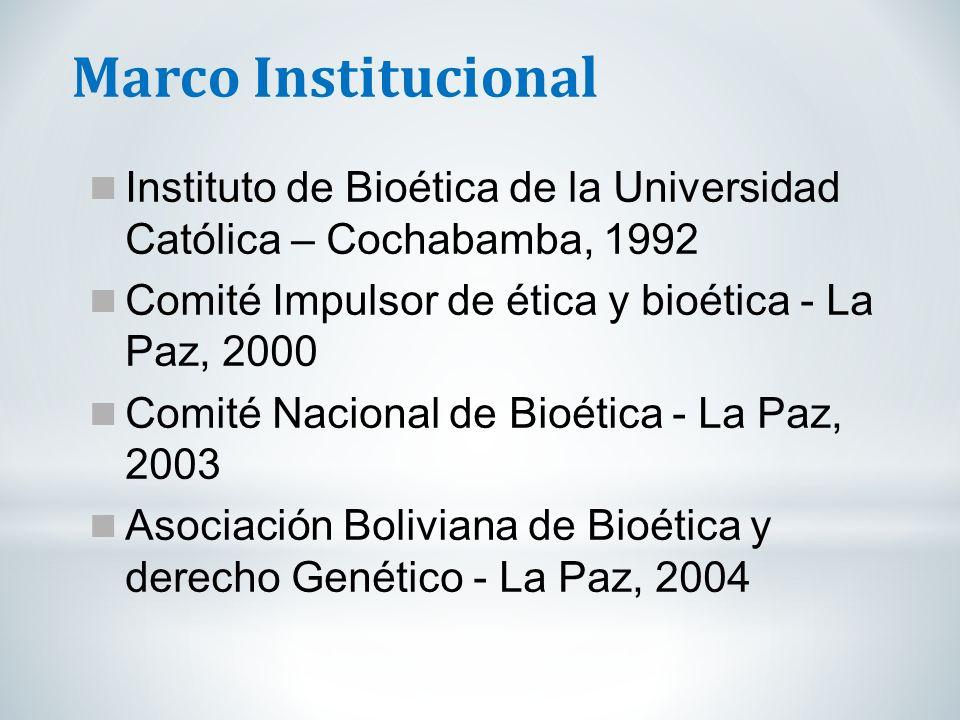Marco Institucional Instituto de Bioética de la Universidad Católica – Cochabamba, 1992. Comité Impulsor de ética y bioética - La Paz, 2000.