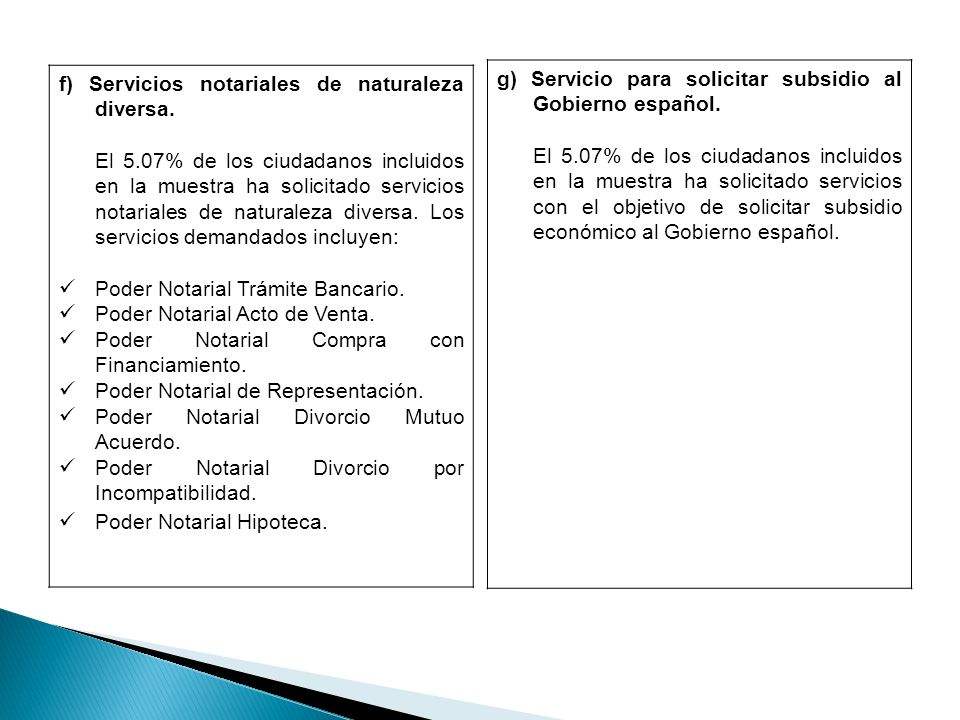 f) Servicios notariales de naturaleza diversa.