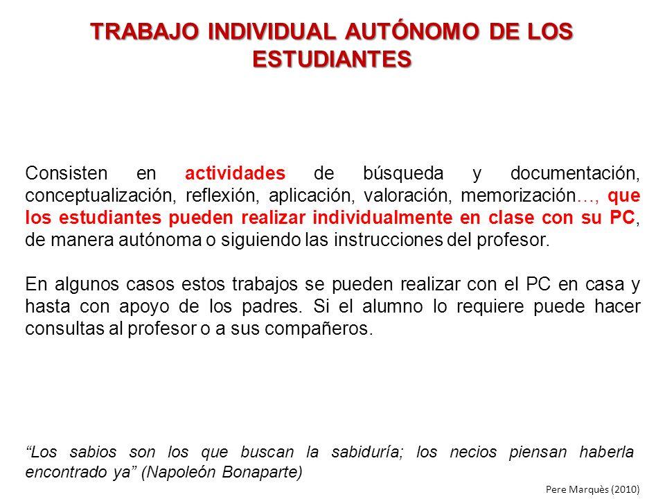 TRABAJO INDIVIDUAL AUTÓNOMO DE LOS ESTUDIANTES