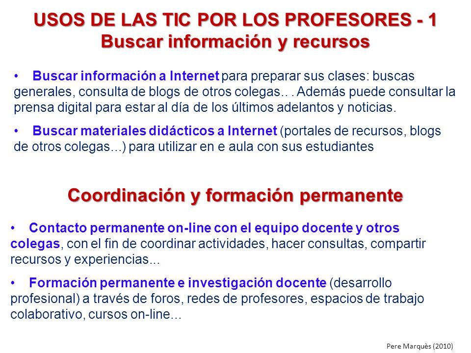 USOS DE LAS TIC POR LOS PROFESORES - 1 Buscar información y recursos