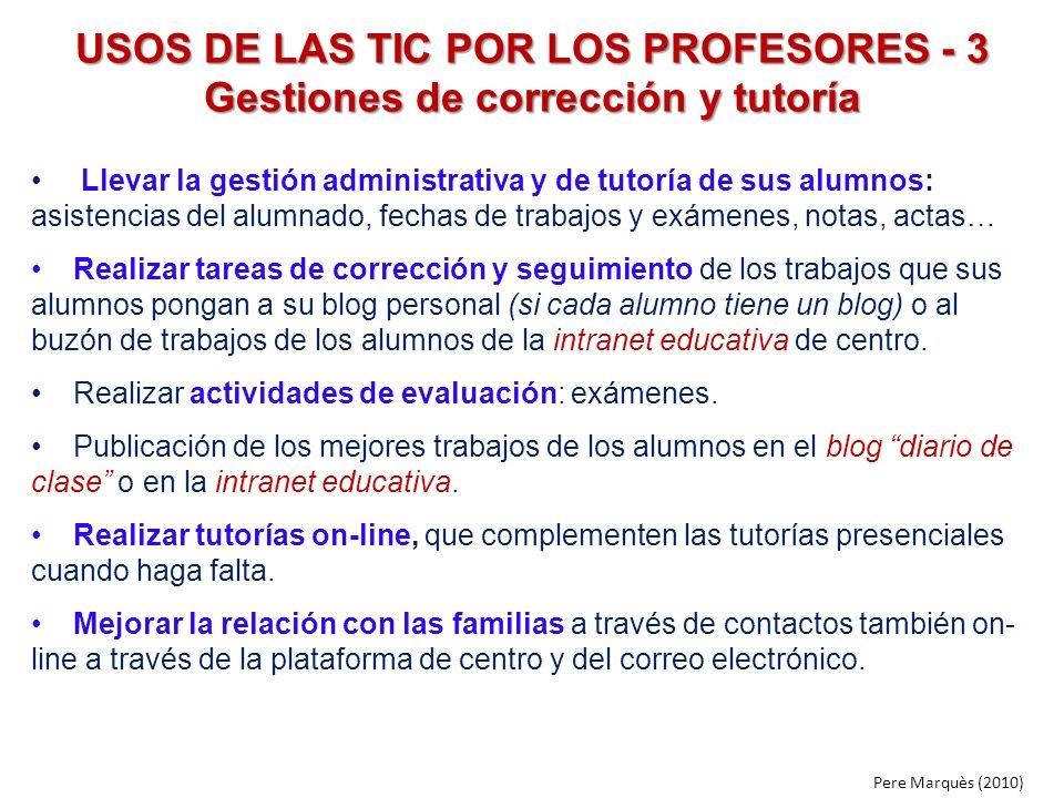 USOS DE LAS TIC POR LOS PROFESORES - 3 Gestiones de corrección y tutoría