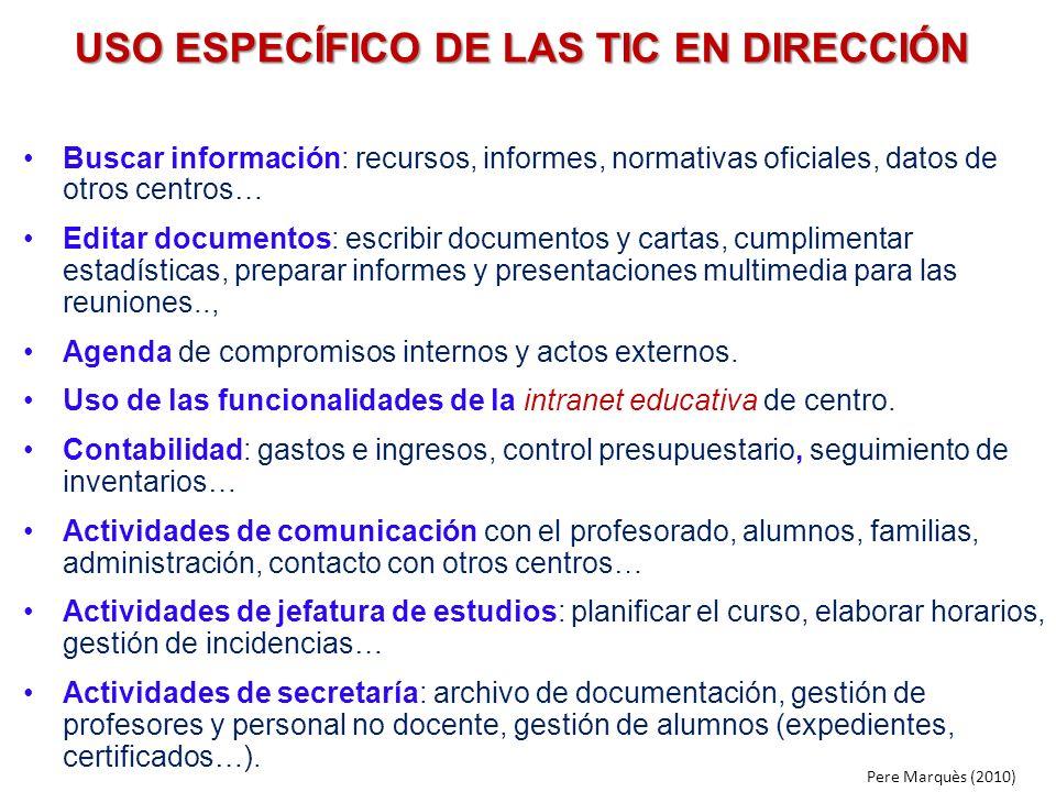 USO ESPECÍFICO DE LAS TIC EN DIRECCIÓN
