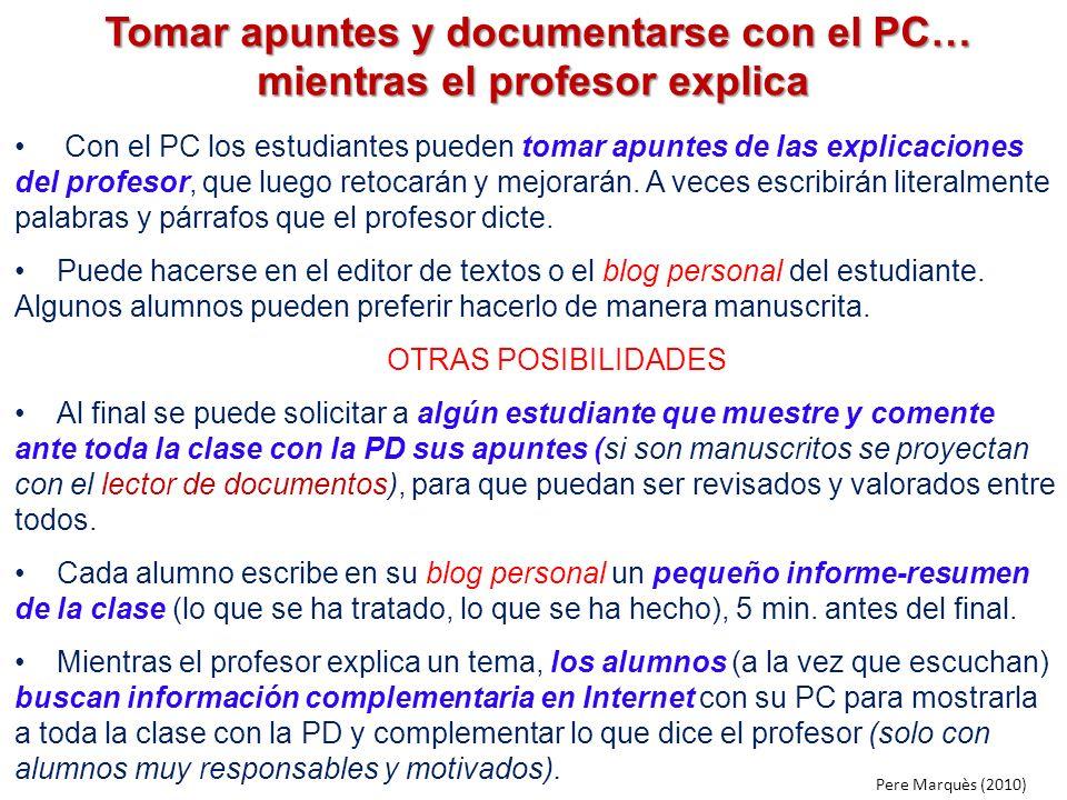 Tomar apuntes y documentarse con el PC… mientras el profesor explica