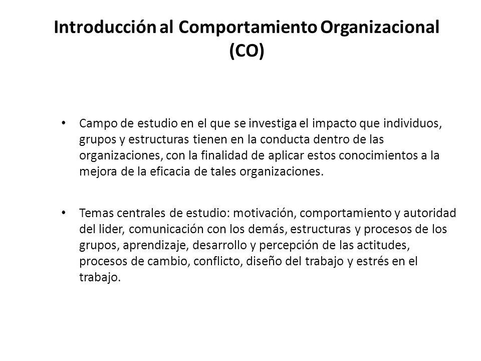 Introducción al Comportamiento Organizacional (CO)