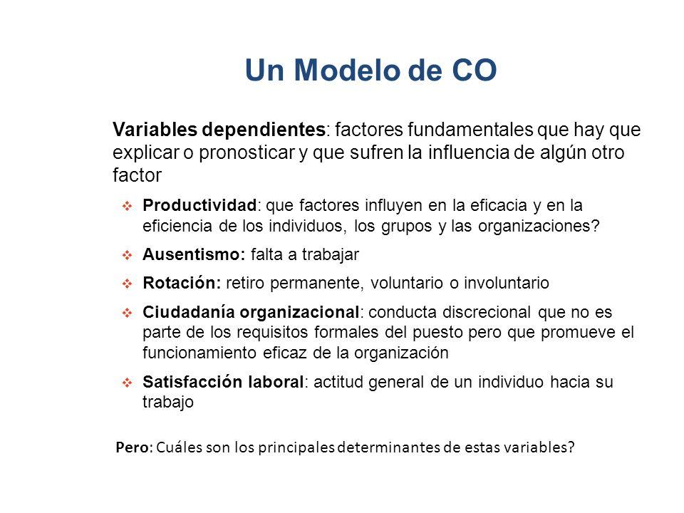Un Modelo de CO Variables dependientes: factores fundamentales que hay que explicar o pronosticar y que sufren la influencia de algún otro factor.
