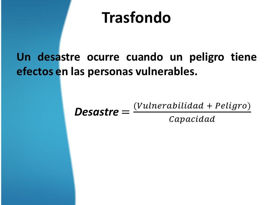 Trasfondo Un desastre ocurre cuando un peligro tiene efectos en las personas vulnerables.