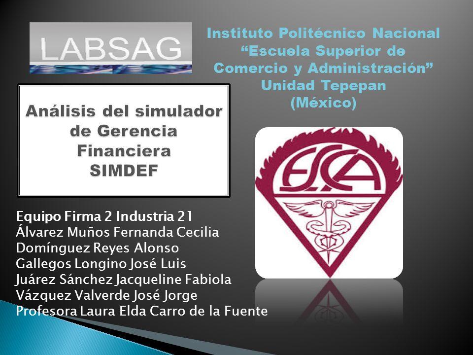 Análisis del simulador de Gerencia Financiera SIMDEF