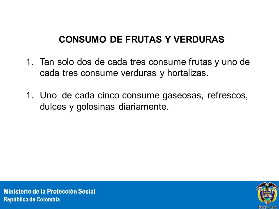 CONSUMO DE FRUTAS Y VERDURAS