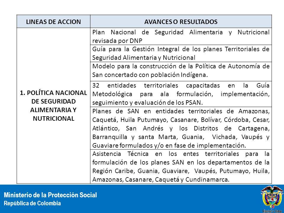 1. POLÍTICA NACIONAL DE SEGURIDAD ALIMENTARIA Y NUTRICIONAL