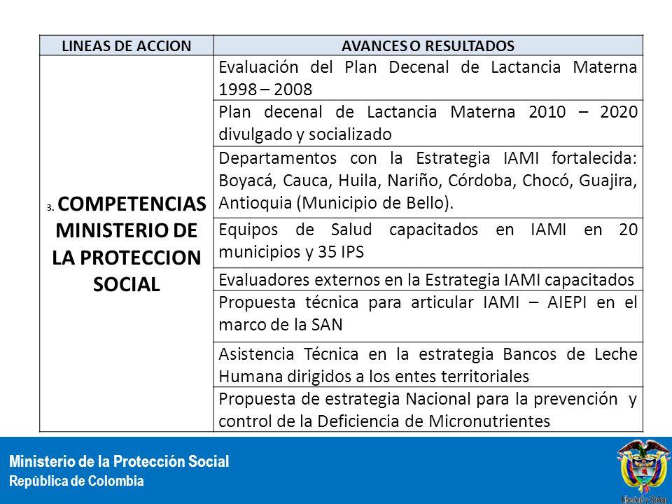3. COMPETENCIAS MINISTERIO DE LA PROTECCION SOCIAL