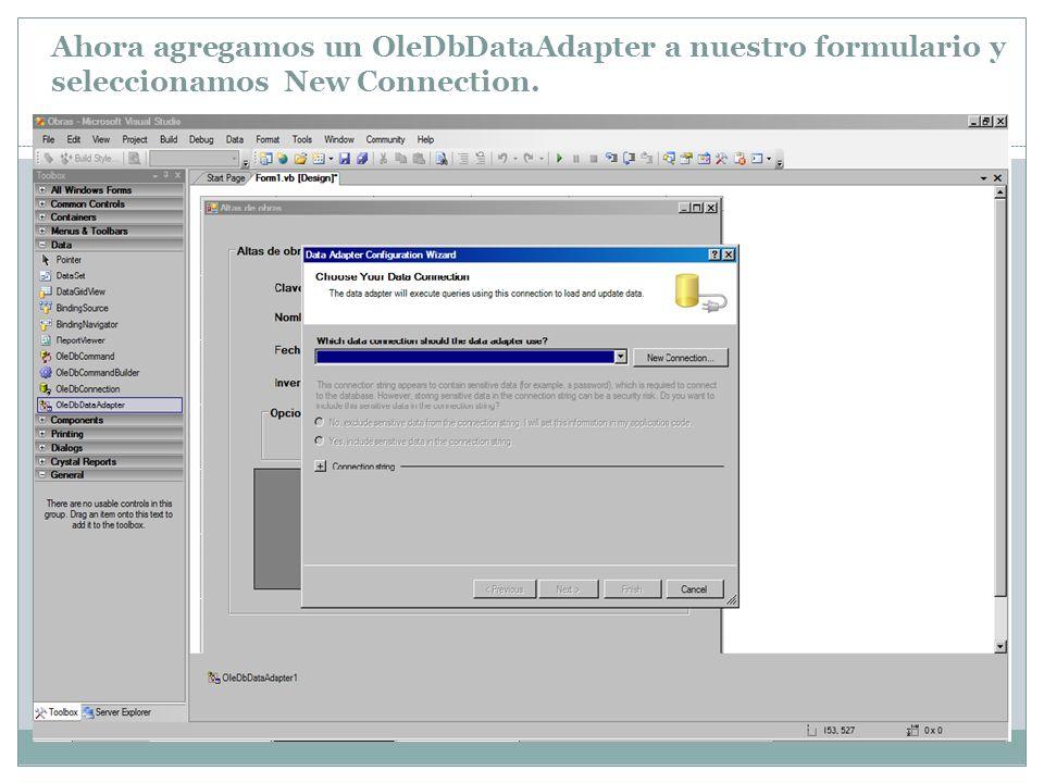 Ahora agregamos un OleDbDataAdapter a nuestro formulario y seleccionamos New Connection.