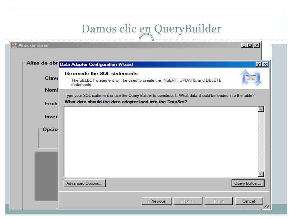 Damos clic en QueryBuilder