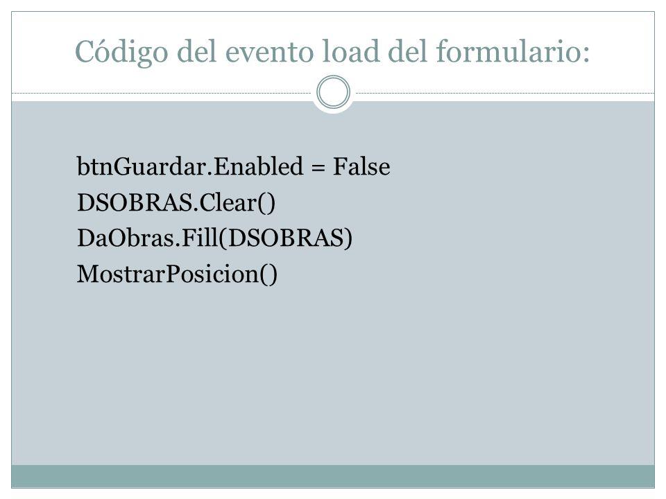 Código del evento load del formulario: