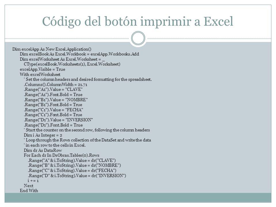 Código del botón imprimir a Excel