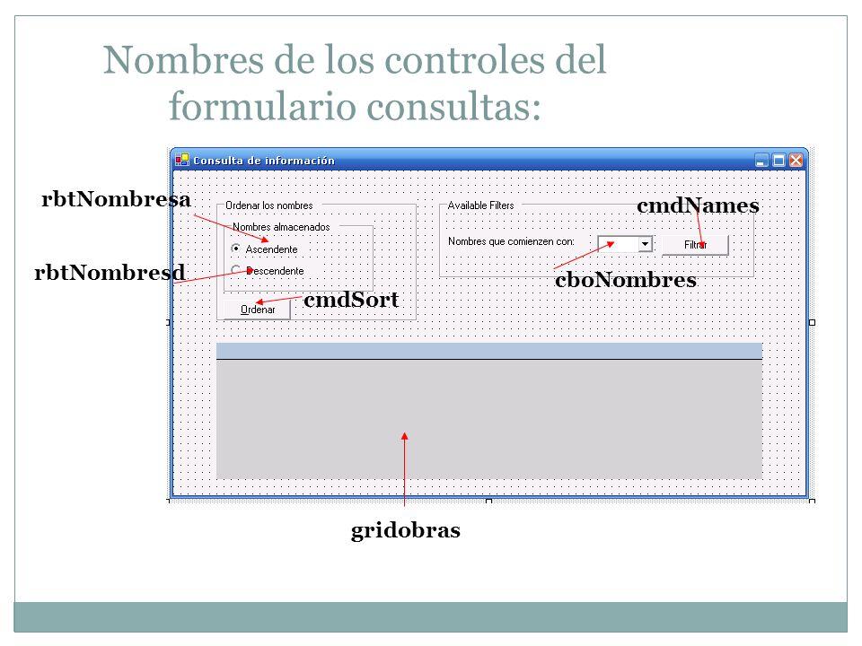 Nombres de los controles del formulario consultas: