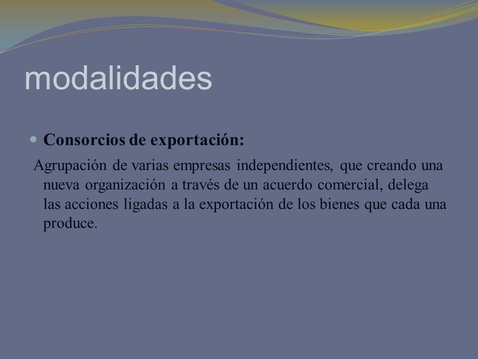 modalidades Consorcios de exportación: