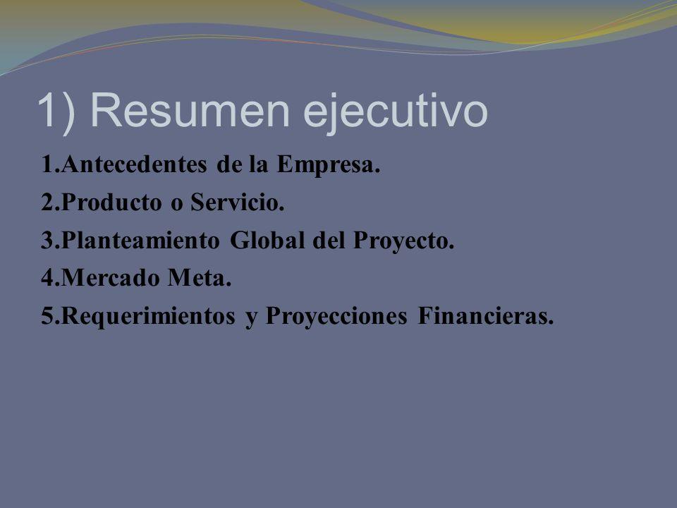 1) Resumen ejecutivo
