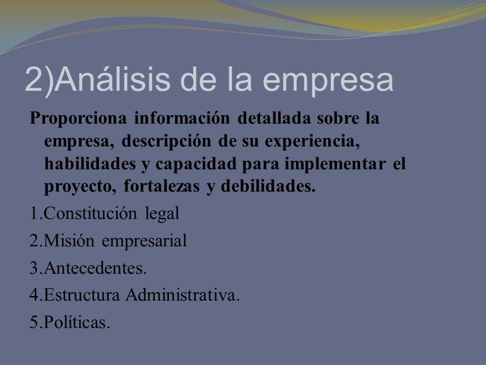 2)Análisis de la empresa