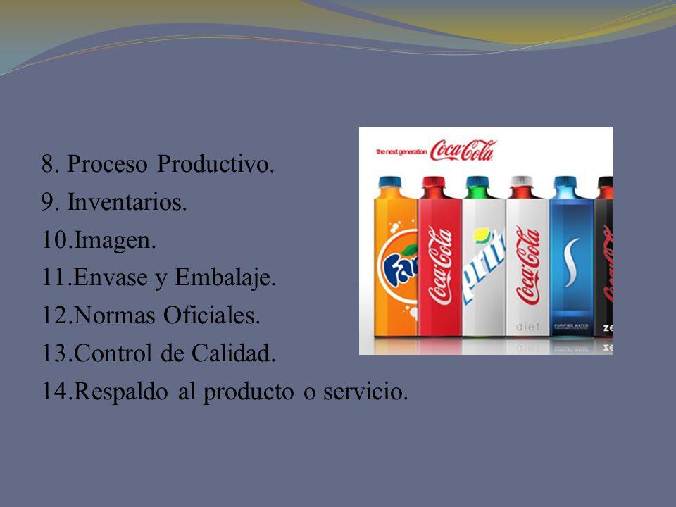 8. Proceso Productivo. 9. Inventarios. 10.Imagen. 11.Envase y Embalaje. 12.Normas Oficiales. 13.Control de Calidad.